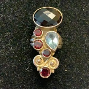5.5 Sterling Cocktail Ring Multi Color